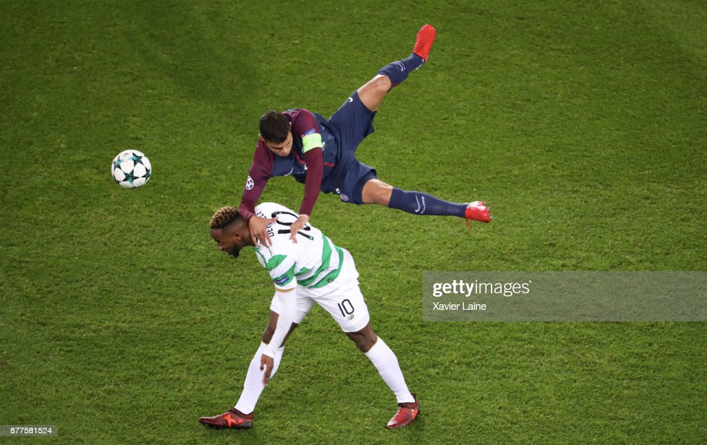 Captain Thiago Silva of Paris Saint-Germain jump over Moussa Dembele of Celtics Glasgow during the UEFA Champions League group B match between Paris Saint-Germain and Celtic Glasgow at Parc des Princes on November 22, 2017 in Paris, France.