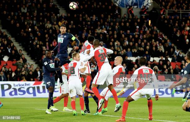 Captain Thiago Silva of Paris SaintGermain jump over the defence during the French Cup SemiFinal match between Paris SaintGermain and As Monaco at...