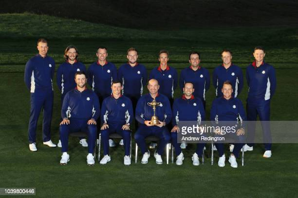 Rory McIlroy waits before the European Team photocall ahead of the 2018 Ryder Cup at Le Golf National on September 25 2018 in Paris France