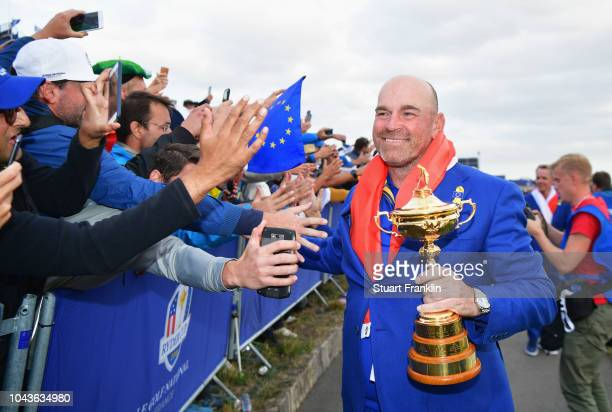Captain Thomas Bjorn of Europe celebrates after winning The Ryder Cup during singles matches of the 2018 Ryder Cup at Le Golf National on September...