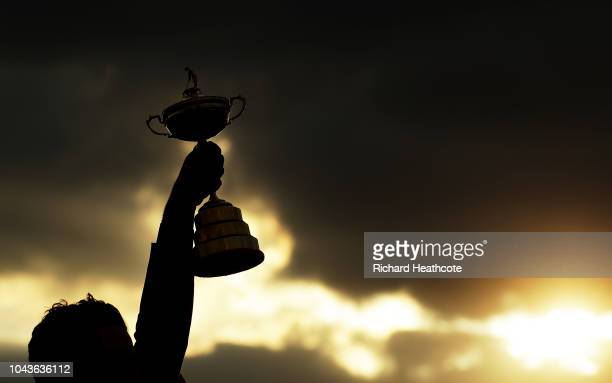 Captain Thomas Bjorn of Europe lifts The Ryder Cup during singles matches of the 2018 Ryder Cup at Le Golf National on September 30 2018 in Paris...