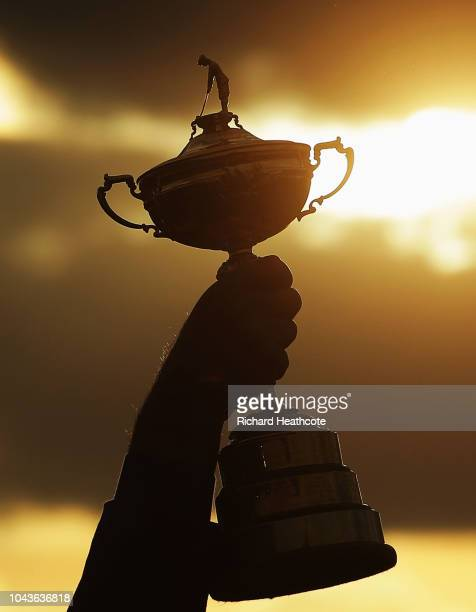 Captain Thomas Bjorn of Europe lifts The Ryder Cup during singles matches of the 2018 Ryder Cup at Le Golf National on September 30, 2018 in Paris,...