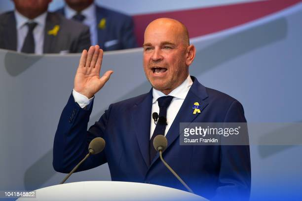 Captain Thomas Bjorn of Europe makes a speech during the opening ceremony for the 2018 Ryder Cup at Le Golf National on September 27 2018 in Paris...