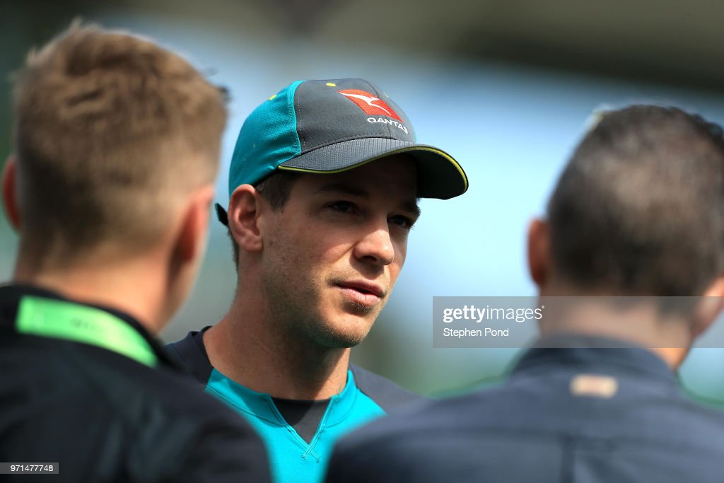 Captain Tim Paine of Australia during an Australia Net Session at The Kia Oval on June 11, 2018 in London, England.
