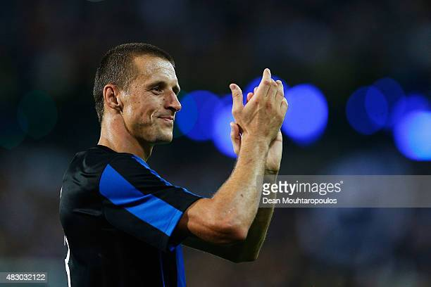 Captain Timmy Simons of Club Brugge thanks the fans after victory in the third qualifying round 2nd Leg UEFA Champions League match between Club...