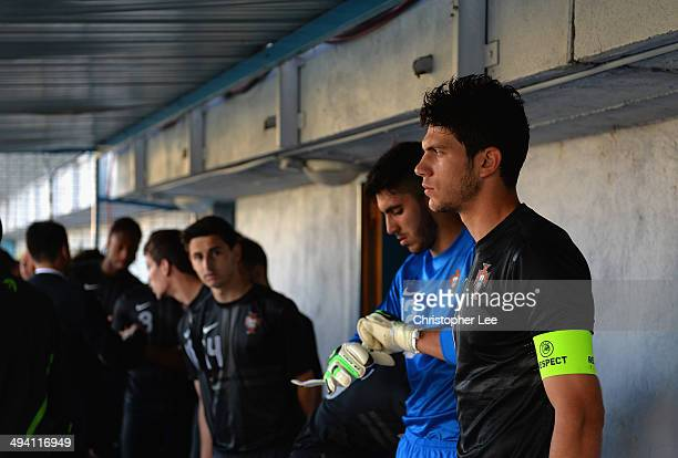 Captain Tobias Figueiredo of Portugal prepares for the match with his team mates in the tunnel before kick off during the Toulon Tournament Group A...