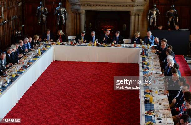 Captain Tom Watson and European Captain Paul McGinley along with Scottish First Minister Alex Salmond during the First Minister's breakfast in the...