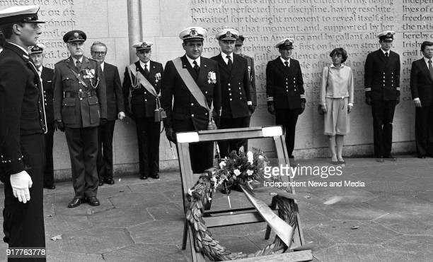 Captain Vincent Angelantoni of the Italian Sail Training Ship Amerigo Vespucci laying a wreath in Arbour Hill for the 1916 Leaders also in attendance...