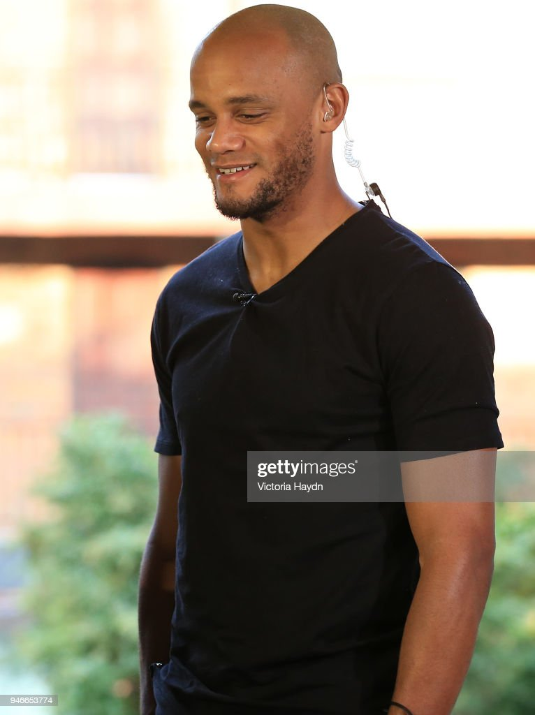 Captain Vincent Kompany of Manchester City celebrates his team Manchester City winning The 2017/18 Premier League during an interview at The Marriott Hotel on April 15, 2018 in Manchester, England.