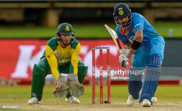 Captain Virat Kohli of India during the 2nd KFC T20 International match between South Africa and India at SuperSport Park on February 21 2018 in...