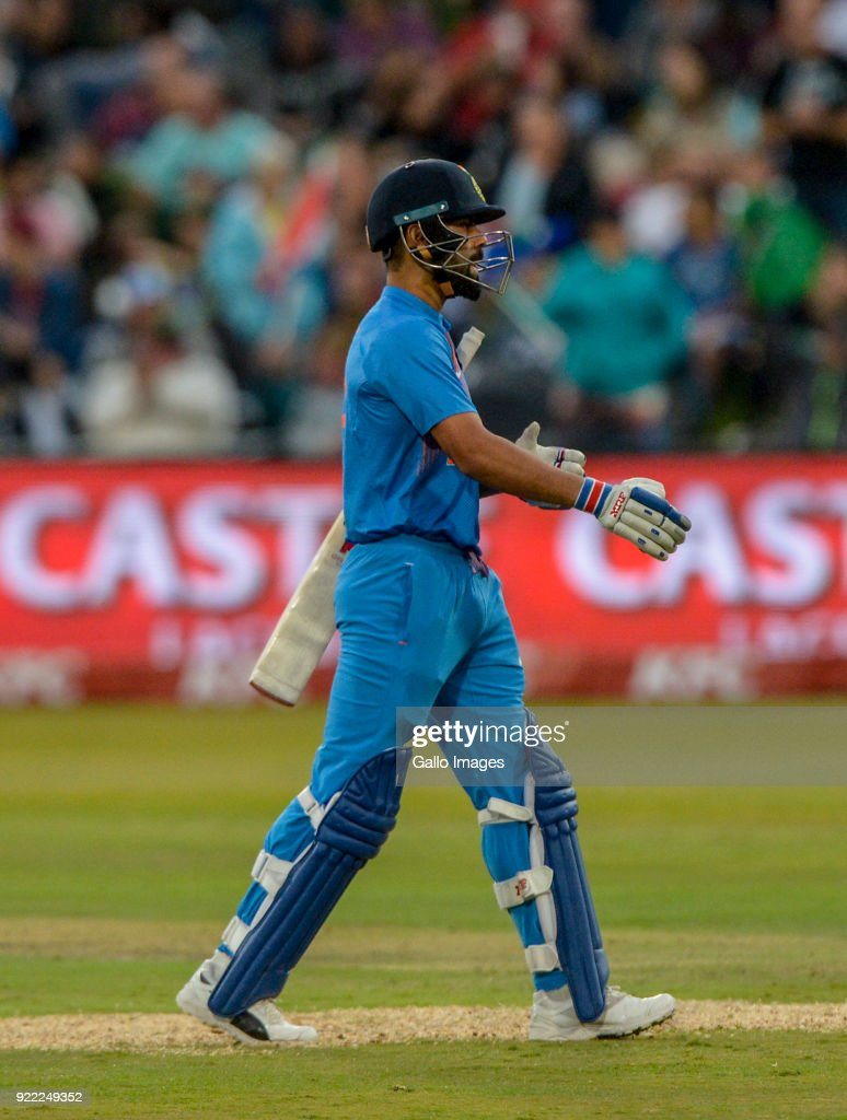 Captain Virat Kohli of India leaves the field during the 2nd KFC T20 International match between South Africa and India at SuperSport Park on February 21, 2018 in Pretoria, South Africa.