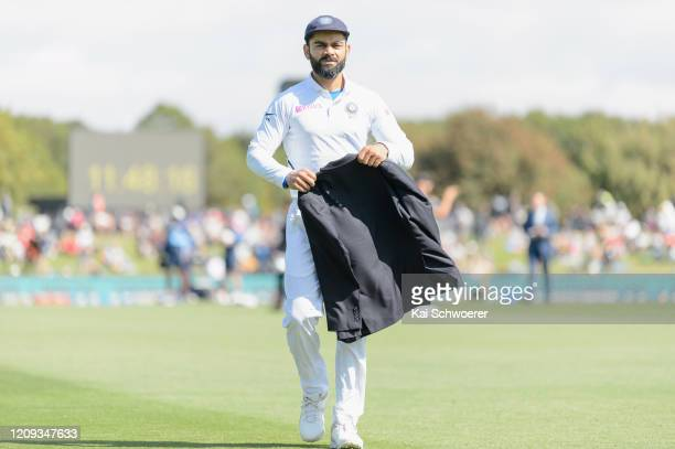 Captain Virat Kohli of India looks on during day one of the Second Test match between New Zealand and India at Hagley Oval on February 29, 2020 in...