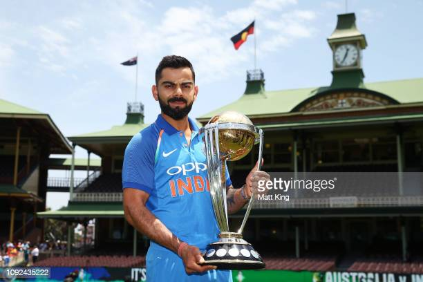Captain Virat Kohli of India poses with ICC Cricket World Cup trophy during the Australia v India ODI Series Captains Trophy Session at SCG on...