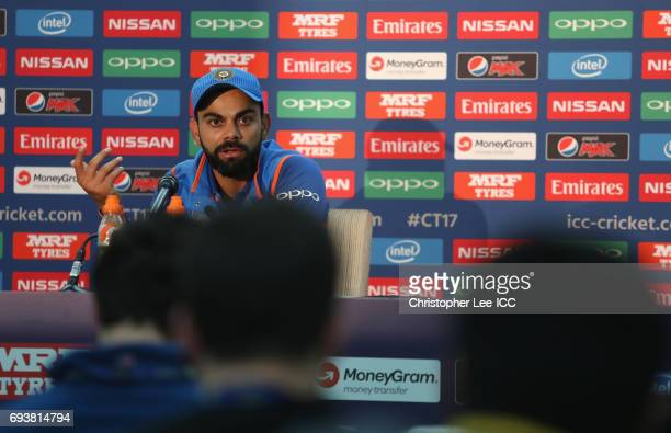 Captain Virat Kohli of India talks to the media in the press conference during the ICC Champions Trophy Group B match between India and Sri Lanka at...