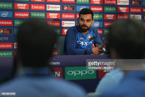Captain Virat Kohli of India talks to the media in the press conference during the ICC Champions Trophy Group B match between India and South Africa...
