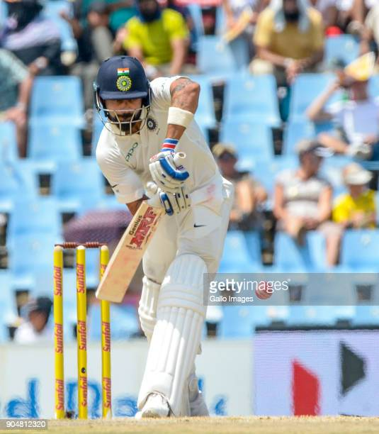 Captain Virat Kolhi of India in action during day 2 of the 2nd Sunfoil Test match between South Africa and India at SuperSport Park on January 14...