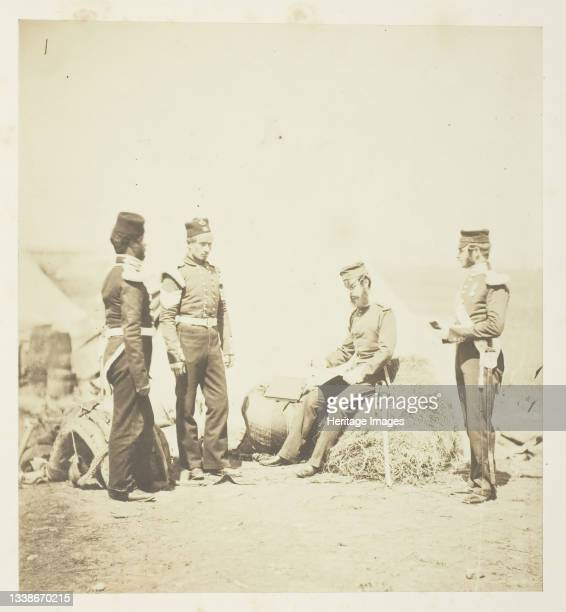 Captain Walker, 30th Regiment, reading General Orders, 1855. A work made of salted paper print, plate 54 from the album 'photographs taken in the...