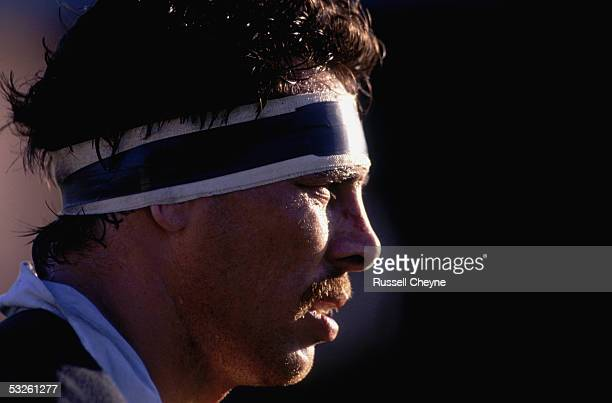 Captain Wayne Shelford of New Zealand during the All Blacks Tour match between Newport and New Zealand held on October 31, 1989 at Rodney Parade, in...