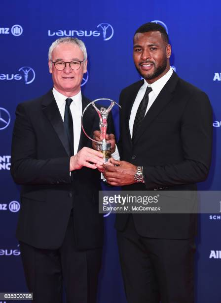 Captain Wes Morgan and Manager Claudio Ranieri pose with trophy on behalf Leicester City FC of winners of the Laureus Spirit of Sport Award attends...