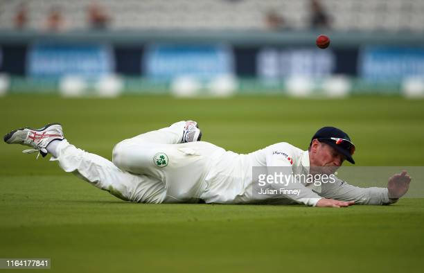Captain William Porterfield of Ireland fails to catch out Sam Curran of England during day two of the Specsavers Test Match between England and...