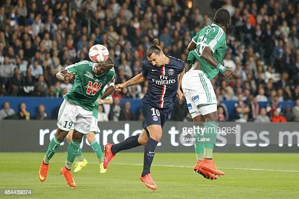 Captain Zlatan Ibrahimovic of Paris Saint-Germain scores the second goal during the French Ligue 1 between Paris Saint-Germain FC and AS...
