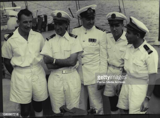 Captaine De Corvette, J. Wolfe, Captaine G.D. Antim De Vaillac, Captain of the La Confiance, Lieut Cdr W.R. Sharp R.A.N. Liason Officer on La...