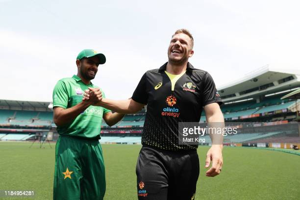 Captains Aaron Finch of Australia and Babar Azam of Pakistan interact during the Australia v Pakistan T20 series media opportunity at the Sydney...