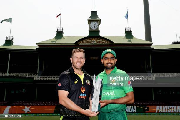 Captains Aaron Finch of Australia and Babar Azam of Pakistan pose during the Australia v Pakistan T20 series media opportunity at the Sydney Cricket...