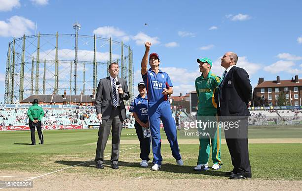 Captains Alastair Cook of England and AB DeVilliers of South Africa at the toss during the 3rd NatWest ODI between England and South Africa at The...