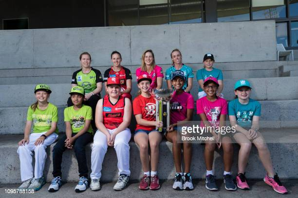 Captains Alex Blackwell of the Sydney Thunder Amy Satterthwaite of the Melbourne Renegades Ellyse Perry of the Sydney Sixers and Kirby Short of the...