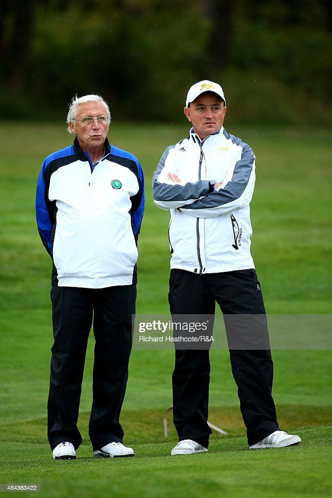 Captains, Alexis Godillot of Europe (L) and Nigel Edwards of GB&I look on during the final day of the St Andrews Trophy at Barseback Golf & Country Club on August 30, 2014 in Loddekopinge, Sweden.