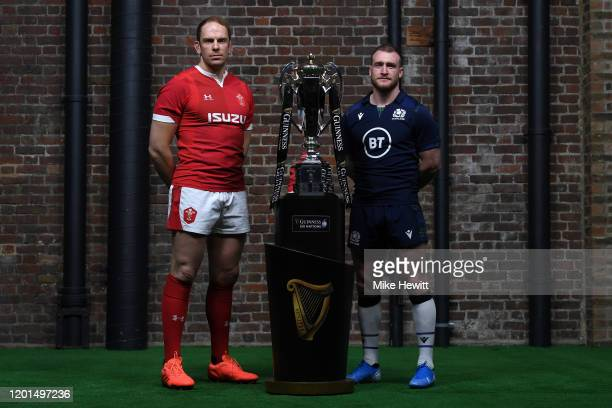 Captains Alun Wyn Jones of Wales and Stuart Hogg of Scotland pose with the Six Nations Trophy during the Guinness Six Nations Launch at Tobacco Dock...