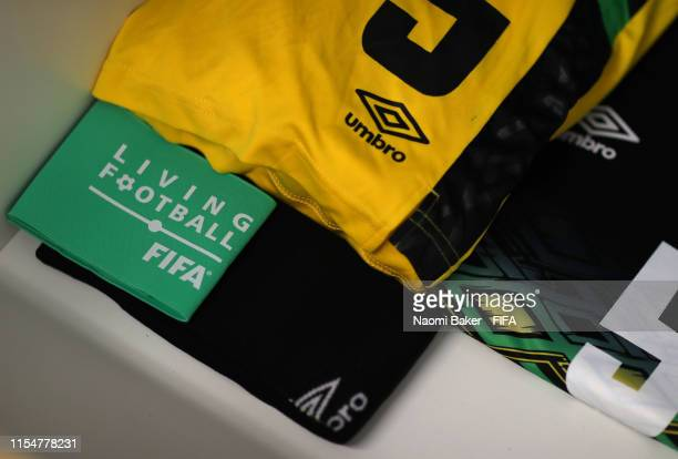 A captain's armband is seen inside the Jamaica dressing room ahead of the 2019 FIFA Women's World Cup France group C match between Brazil and Jamaica...