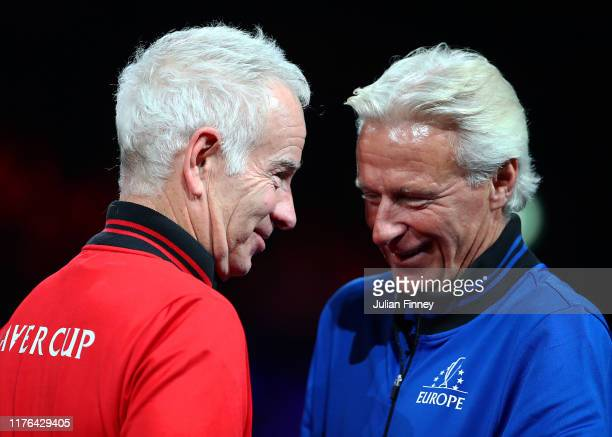 Captains Bjorn Borg and John McEnroe enjoy a moment before the last match between Alexander Zverev of Team Europe and Milos Raonic of Team World...