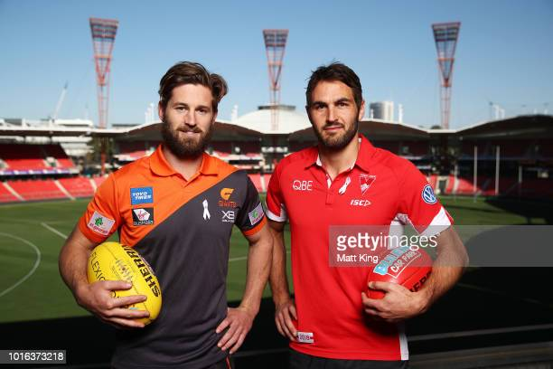Captains Callan Ward of the Giants and Josh Kennedy of the Swans pose during a Greater Western Sydney Giants and Sydney Swans joint AFL media...