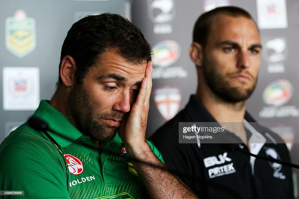 Captains Cameron Smith of the Kangaroos and Simon Mannering of the Kiwis look on during a joint New Zealand Kiwis and Australian Kangaroos Four Nations Final joint press conference at Westpac Stadium on November 14, 2014 in Wellington, New Zealand.