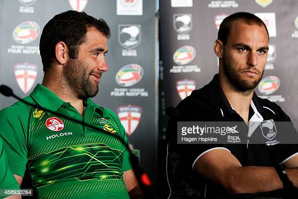 Captains Cameron Smith of the Kangaroos and Simon Mannering of the Kiwis look on during a joint New Zealand Kiwis and Australian Kangaroos Four...