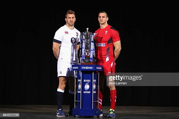 Captains Chris Robshaw of England and Sam Warburton of Wales pose for a photo during the RBS Six Nations Launch at The Hurlingham Club on January 22...