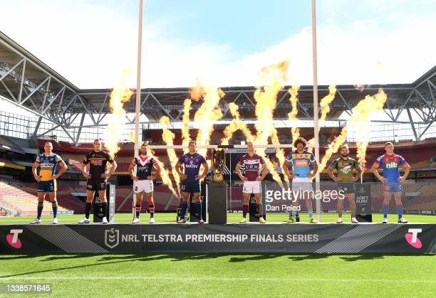 Captains Clint Gutherson of the Parramatta Eels, Isaah Yeo of the Penrith Panthers, James Tedesco of the Sydney Roosters, Dale Finucane of the...