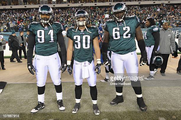 Captains Darryl Tapp Colt Anderson and Max JeanGilles of the Philadelphia Eagles pose for a photograph during the game against the Minnesota Vikings...