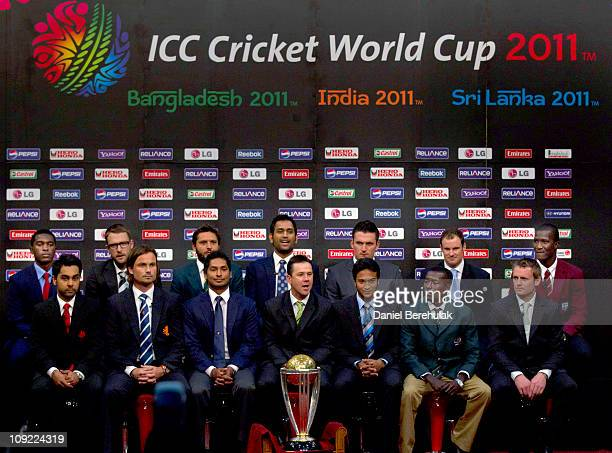 Captains Elton Chigumburu of Zimbabwe Daniel Vettori of New Zealand Shahid Afridi of Pakistan Mahendra Singh Dhoni of India Graeme Smith of South...