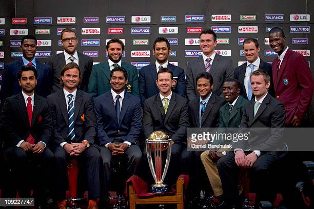 Captains Elton Chigumburu of Zimbabwe Daniel Vettori of New Zealand Shahid Afridi of Pakistan Mahendra Singh Dhoni of India Graeme Smith of South...