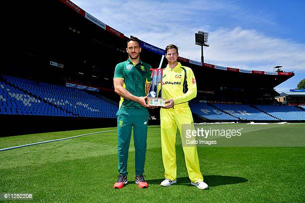Captains Faf du Plessis of South Africa and Steve Smith of Australia pose during the South African national cricket team training session and press...