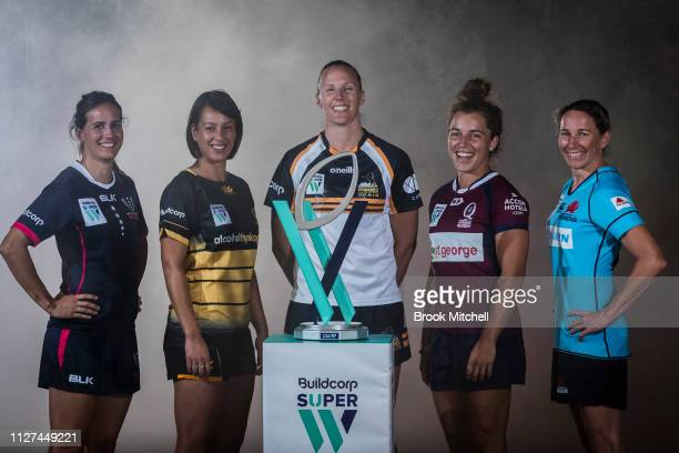 Captains from Australia's women's Super Rugby teams theMelbourne Rebels Meretiana Robinson, Rugby WA Mhicca Carter, ACT Brumbies Michelle Milward,...