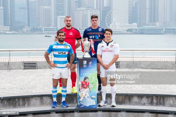 Captains from the Cathay Pacific/HSBC Hong Kong Sevens 2017 teams pose for photos against Hong Kong Island skyline prior to the Hong Kong Rugby...