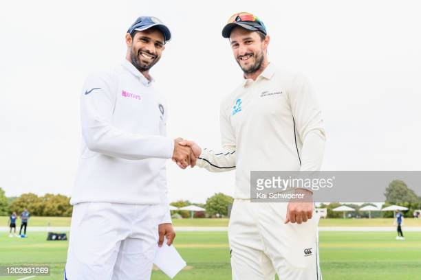 Captains Hanuma Vihari of India A and Hamish Rutherford of New Zealand A shake hands during Day 1 of the Test Series between New Zealand A and India...