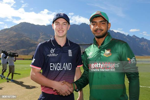 Captains Harry Brook of England and Mohammed Saif Hassan of Bangladesh pose for a photo ahead of the ICC U19 Cricket World Cup match between...