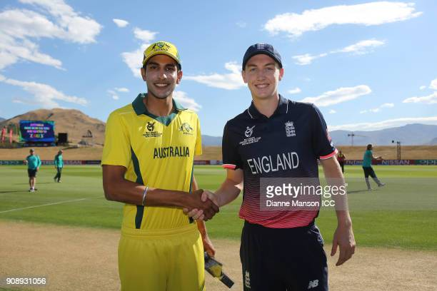 Captains Jason Sanha of Australia and Harry Brook of England pose for a photo during the ICC U19 Cricket World Cup Quarter Final match between...