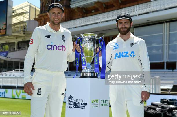 Captains Joe Root of England and Kane Williamson of New Zealand with the series trophy before the first LV= Test match at Lord's Cricket Ground on...