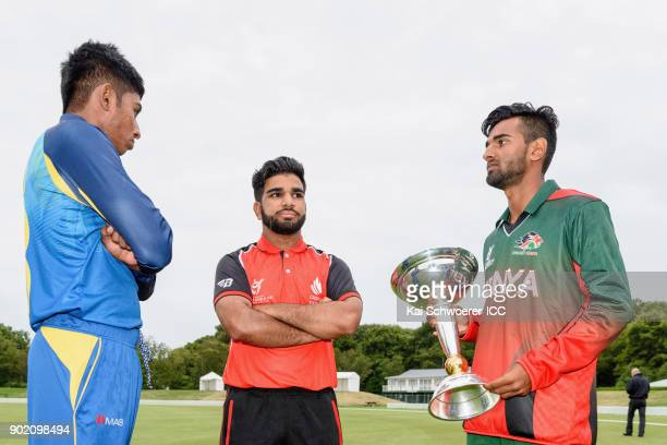 Captains Kamindu Mendis of Sri Lanka Arslan Khan of Canada and Sachin Bhudia of Kenya look on during the ICC U19 Cricket World Cup Opening Ceremony...